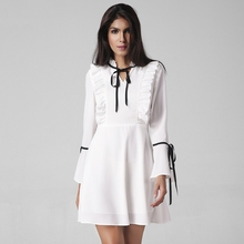 The New 2017 European and The United States Style Women's Fashion Sexy Ruffles Adornment Flare Sleeve Dress Empire White Dress(China)