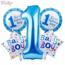 FENGRISE 5pcs Baby 1st Birthday Balloons Blue Pink Foil Balloons Happy Birthday Party Decoration Kids I AM ONE Party Supplies(China)
