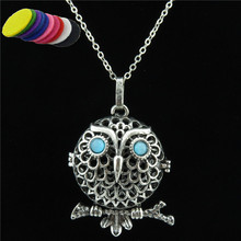 Free shipping Q20818  Fragrance Essential Oils Silver Copper Aniaml Owl Locket Diffuser Necklace 24""