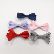 10pcs/lot Flower Bow Kid Hair Clip Red Bow Knot Barrette Non Slip Kid Girl Hairpin Solid Color Pink Purple Head Wear Grips