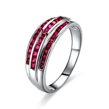 GVBORI 18K White Gold& Natural Ruby Gemstone Ring ruby genuine Classic Style Fine Jewelry Valentine Multi layer ring(China)