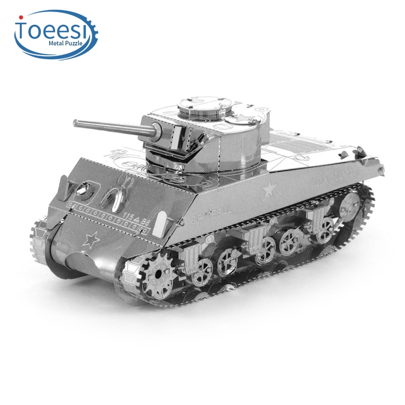 Toeesi All Metal Stainless Steel DIY Assembly Model 3D Nano Stereo Puzzle Sherman Tank PU080(China (Mainland))