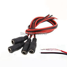 10pcs 2.1x5.5 mm Female plug 12V DC power cable Power Pigtail cable jack for CCTV Security Camera connector AWG22
