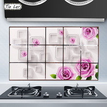 TIE LER 75X45cm Kitchen Wall Stickers Rose Foil oil Sticker Decal Home Decor Art Accessories Decorations Supplies Items Products