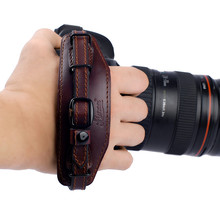 Camera Hand Wrist Strap Belt with Metal Quick Release Plate for Canon Nikon Pentax SLR DSLR Cameras Black & Brown  Wrist band