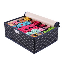 QUBABOBO 24 Grid Oxford Cloth Organizer Folding Socks Storage Box Underwear Organizer With Cover Big Capacity Boxes 32*26*13cm(China)