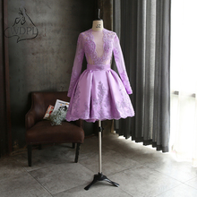Real Photo Lavender Short Prom Dresses Long Sleeve Knee Length Lace Appliques Formal Party Gowns Sheer O Neck Club Prom Gowns(China)