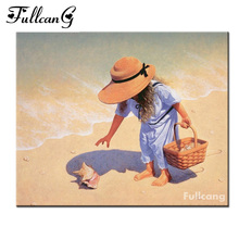 FULLCANG girl on the beach diy diamond painting cross stitch full square diamond embroidery people painting home decor E601(China)