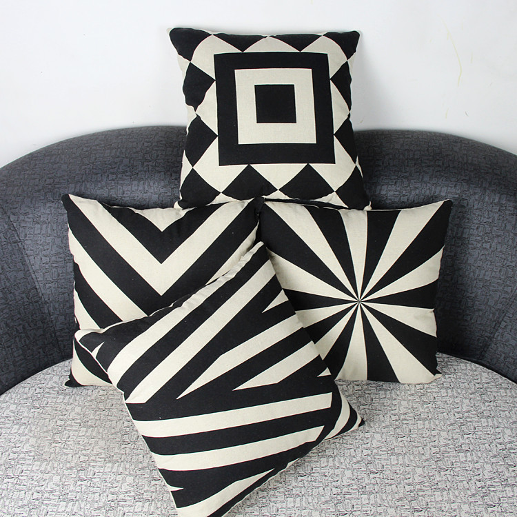 black&white Seat Cushion Without Core Decorative pillows Home Decor Sofa Chair Throw Pillows Decorate lattice Cushions 45*45cm