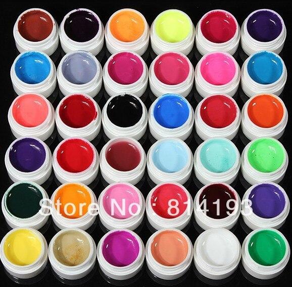 36 Colors DIY Design Transparent Extension Builder PURE UV GEL Nail Art Tips Set<br>