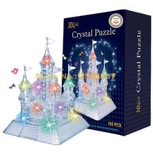 3d Music Flash Crystal Puzzle Jigsaw Model Diy Castle Intelligence Toy Town Decoration 20cm(China)