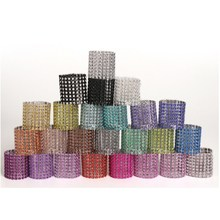 Plastic 50pcs/Lot Napkin Rings for Wedding Diamond Napkin Holder Cup Flower Ornament Party Banquet Table Decoration Accessories(China)