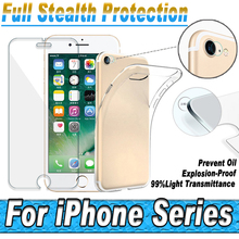 Ultra-thin TPU Soft Silicon Case Cover For iPhone 7 6 6S Plus 5 5C 5S SE 4 4S Camera Lens Tempered Glass Screen Protector Film