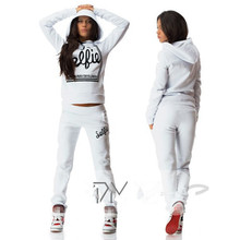 2017 Fashion Letter Sweatshirt and Pants Set 2 Two Piece Set Tracksuit Print Sweat Suits Women Hoodies Sets