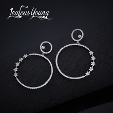 Fashion Round Circle Big Hoop Earrings With Small Flower Hollow Out Pendant Charm Earings Fashion Jewelry For Women Party AE287
