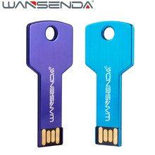 Wansenda waterproof pen drive key shape usb flash drive 4gb/8gb/16gb/32gb/64gb/128gb metal usb 2.0 USB memory stick pendrive(China)