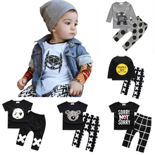 2017 Spring Baby Girls Boy Clothes Cotton Tops + Pants Infant Clothing Sets New Newborn Suits Children Costume Hot Sale