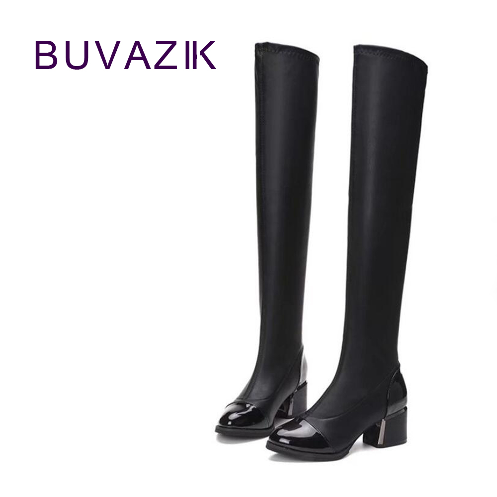 2017 autumn new female high boots elastic slim womens  shoes over the knee high-heel comfortable fabrics black <br>
