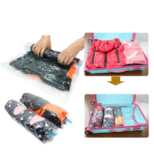 4 size Hand Roll Transparent Vacuum Compressible Bag Foldable Clothing Vacuum Storage Bags Save Space Travel Storage Bags