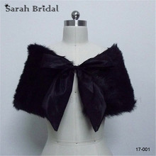 In Stock wedding bridal wraps 2016 Black Faux fur bolero winter bride wedding shawls with bow wedding accessories 17001