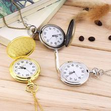 Vintage Antique Silver Polish Quartz men Pocket Watch Stainless Steel Quartz Watch with Chain 4.5cm Size  lover Best gift