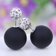LNRRABC  Rhinestones Crystal Earrings Silver Piercing Ear Stud Women Ball Double Simulated Pearl earrings brincos brinco