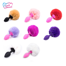 Sweet Dream Silicone Butt Plug Rabbit Tail Anal Plug Chuzzle Fluffyball Sex Toys for Woman Sex Products DW-022(China)
