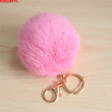 RMDMYC Plush Keychain 8cm Rex Furs Rabbit Plush Ball Toys Cute Keychain Pendant Bag Car Jewelry Gadget Girlfriend Brithday Gift(China)