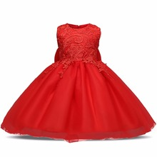 Red Flower Newborn Baby Girls Dress Baptism Kids Clothing 1 year Birthday Princess Infant Dress Party Girl Clothes Dresses Bebes(China)