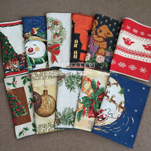 Christmas Placemat Place mat Mat 4pcs /lot American jacquard three snowman bear table dinner coaster  Dec Gift  wholesale  FG136