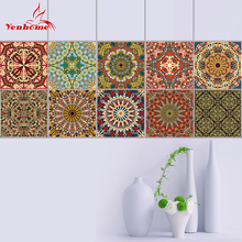 10PCS 20X20CM DIY Mosaic Wall Tiles Stickers Borders Bathroom Waterproof PVC Self Adhesive Wallpaper Border Kitchen Wall Sticker(China)