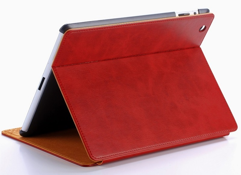 red vintage leather smart cover case for ipad 2018 9.7 inch book case