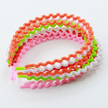 2017 Rushed Sale Unisex Children 4011 Korean Candy Colored Lady Headband High Elastic Plastic Wave Wide Taobao Explosion Hair