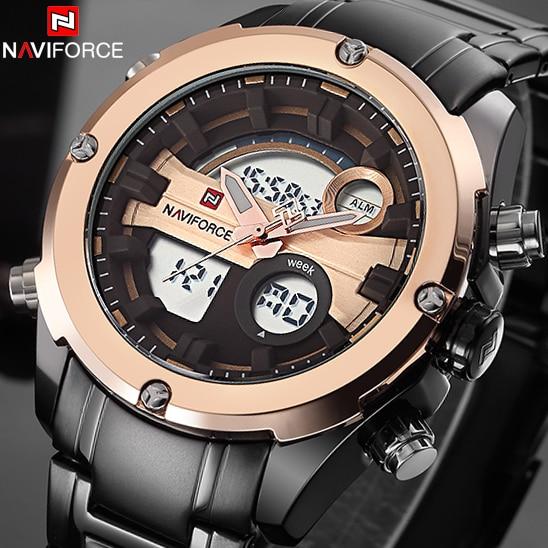NAVIFORCE Top Luxury Brand Men Military Waterproof Sports Watches Mens Analog LED Clock Male Wrist Watch relogio masculino<br>