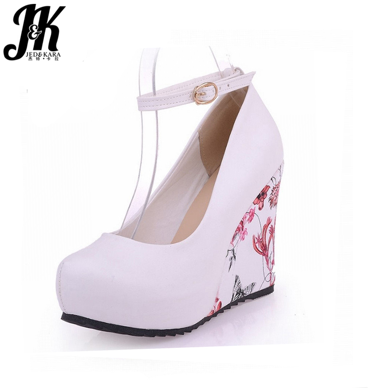 2017 Fashion Ankle Strap High Wedges Pumps Platform Summer Pumps For Women Casual Dress Elegant Flower Print Platform Shoes<br><br>Aliexpress