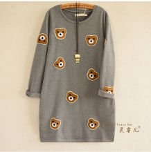 2016 Autumn Winter Cartoon Bear Embroidery Sweatshirt Women Fashion Long Hoodie Dress Fleece Pullover Moletom Feminina(China)
