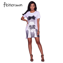 Feiterawn Summer 2017 Black White O Neck Short Sleeve Casual Shirt Dress Women Character Beauty Print Mini Dress MN8115(China)