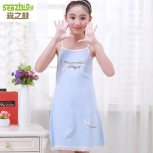 2017 New Summer girls Nightgown thin 100% cotton pajamas girl princess dress kids Letter flower design comfortable dress -2396(China)