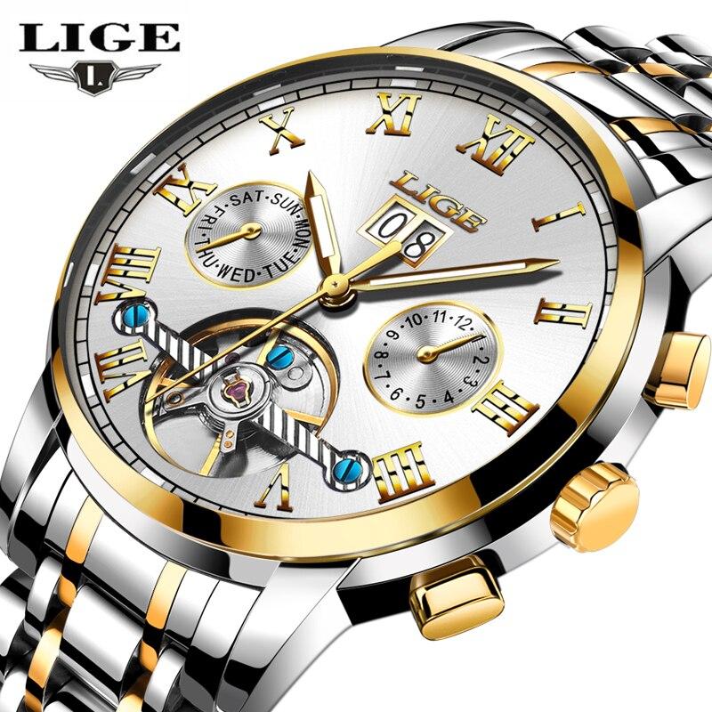 Watches Men Luxury Brand LIGE Automatic Watch Men Fashion Business Waterproof Clock Man Full steel Wristwatch relogio masculino<br>