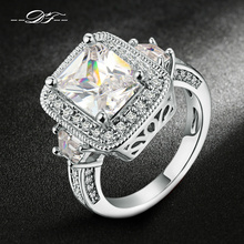 Exaggerated Luxury CZ Stone Engagement Ring Silver/Rose Gold Color Cubic Zirconia Wedding Jewelry For Men and Women Anel DFR301