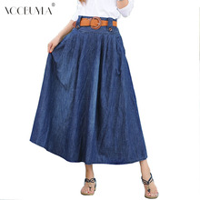 Voobuyla summer Street Style women denim skirts High waist long denim skirt fashion ladies pleated denim skirts for girls