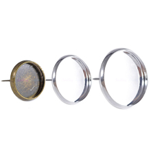 50pcs Fit 8-18mm 12mm Glass Cabochon Cameo Silver Plated Bezel DIY Stud Backs Blank earring posts Setting Base Earring Findings(China)