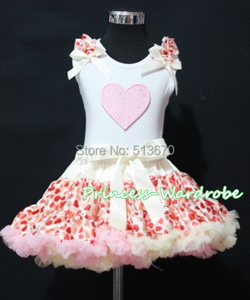 Valentine White Pettitop Top in Pink Ruffles Heart with Cream Pink Heart Pettiskirt 1-8Y MAPSA0256<br>