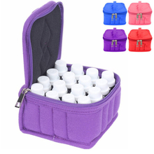 16 Lattices Cosmetic Bag for Traveling Double Zipper Carrying Case Essential Oil Bottle Storage Box Make Up Bags