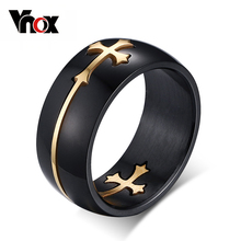 Vnox Separable Cross Ring for Men Woman Black Color Stainless Steel Cool Male Design Jewelry(China)