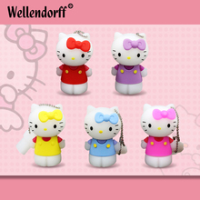Promotion Kitty Cat Silicone USB FLASH DRIVE 64GB 32GB 16GB 8GB 4GB Memory stick USB2.0 PenDrive External Storage for gift(China)