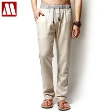 Linen pants Mens Loose Pants Man Summer Style Elastic Waist Linen Long Trousers Plus Size XXL XXXL XXXXL Color Beige Army Green