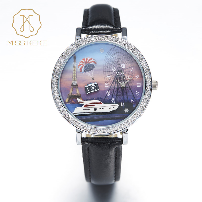 Wrist Watches For Women 3D Clay Camera Yacht Eiffel Tower Rhinestone Roman Scale Watch Women Quartz Women Wristwatches(China)