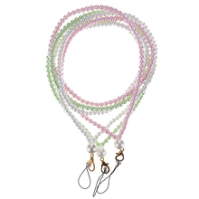 1 Pcs Simple Fashion Stylish Pearls Beads Cellphone Lanyard Neck Strap Card Keychain Charms(China)