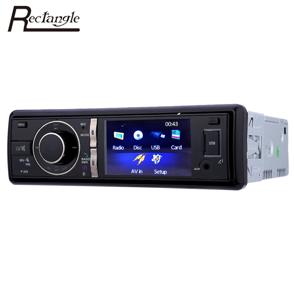 Rectangle 1 Din 320 3 inch Car Radio Audio Stereo DVD CD Player Bluetooth FM USB Rear View Camera Function with Remote Control(China)